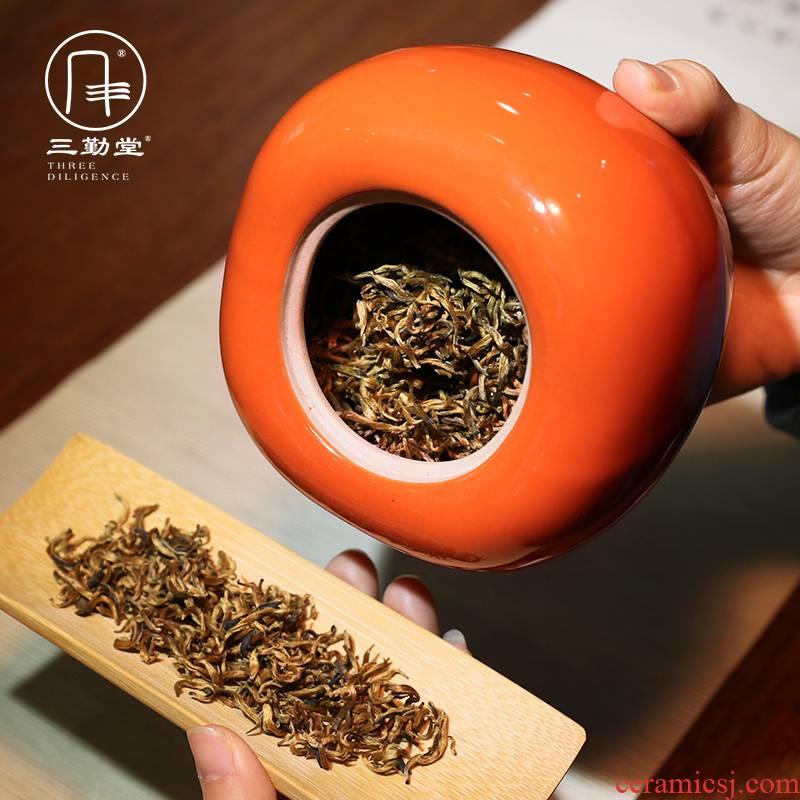 The three regular caddy fixings large persimmon seal pot jingdezhen domestic large deposit S51100 wake receives tea storehouse