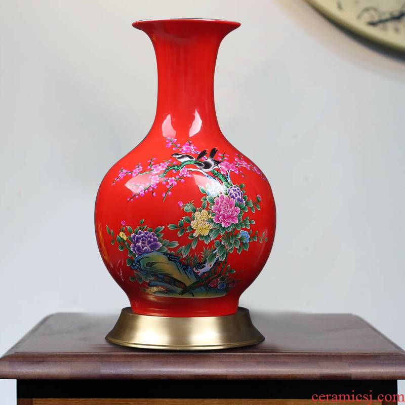 Jingdezhen ceramic vases, modern home decoration red sitting room porch decoration new Chinese pottery flower implement furnishing articles