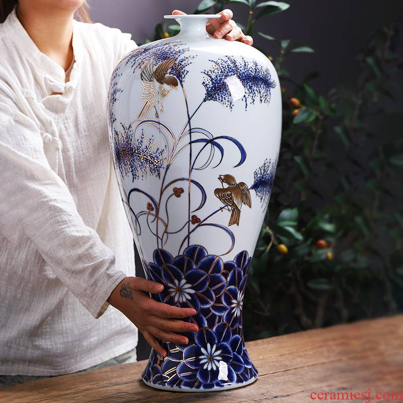 Jingdezhen ceramics hand - made paint floor large blue and white porcelain vase household living room TV cabinet act the role ofing is tasted furnishing articles