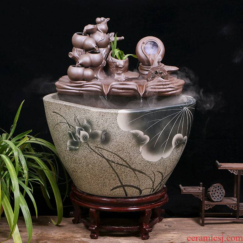 Ceramic tank landing home sitting room circulating water tank courtyard balcony office furnishing articles to raise a goldfish bowl