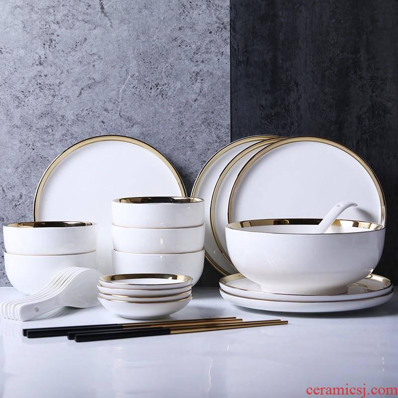 The kitchen ceramic tableware Nordic up phnom penh dish plate household small taste dish soup bowl chopsticks ceramic bowl dish dish suits for