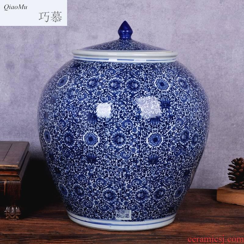 Qiao mu ceramic household barrel ricer box 20 jins 50 kg 100 jins of oil storage tank cylinder barrel pickles meat cylinder insect prevention