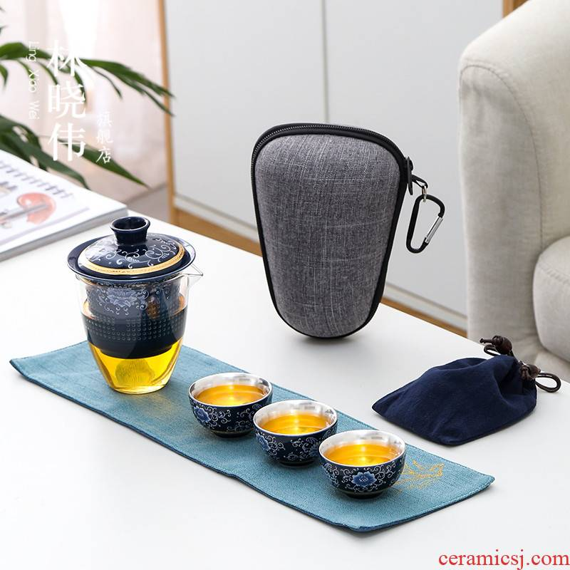 Lin Xiaowei tasted silver gilding crack a pot of three ceramic small sets of is suing travel with glass kung fu tea set