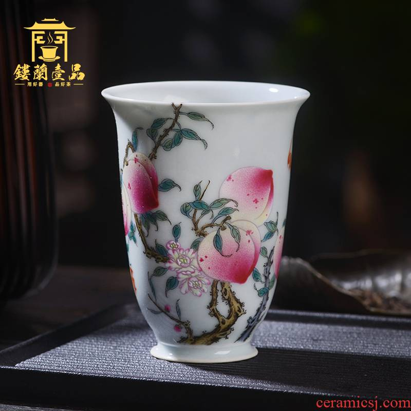 Jingdezhen ceramic powder enamel manually through wall cup live long and proper master kung fu tea tea cup of large single CPU