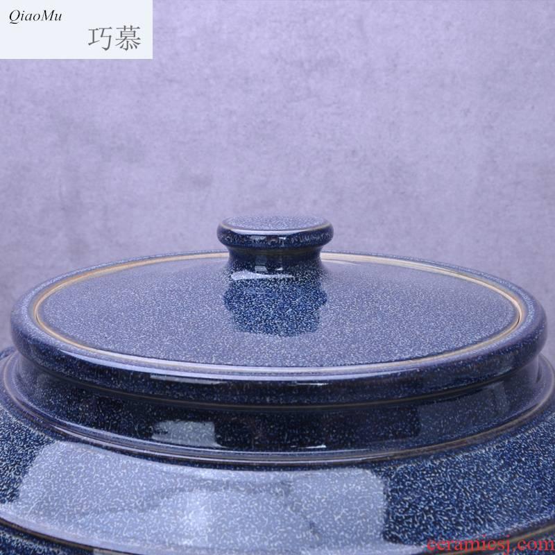 Qiao mu jingdezhen ceramic barrel oil cylinder tank 20 jins 30 jins 50 kg 100 jins water storage tank with tap water