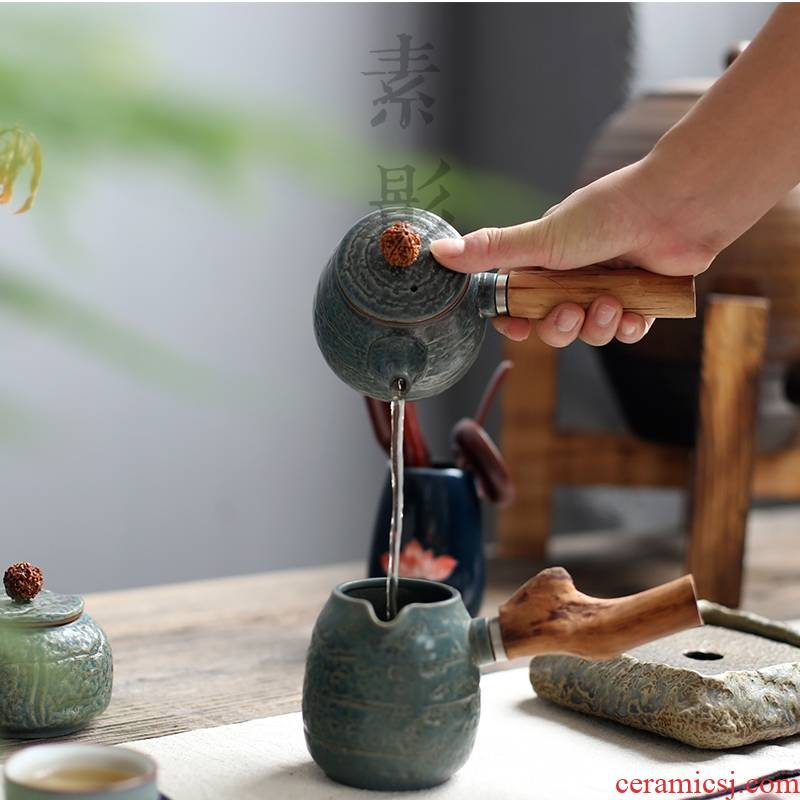 Qiao mu household ceramics filter archaize kung fu tea tea teapot Japanese side of real wood as the office