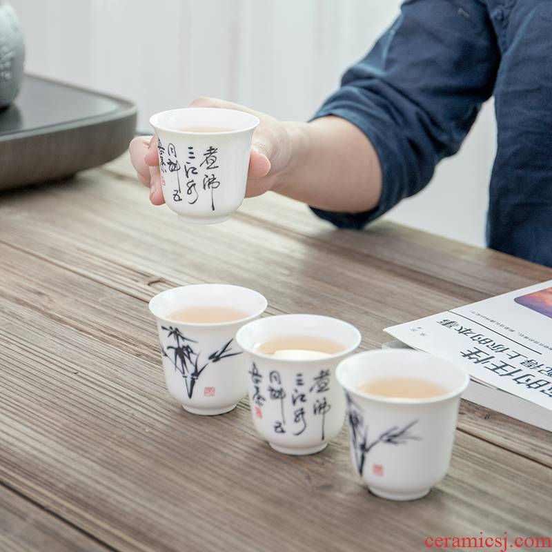 100 ml hand - made ceramic cups kung fu tea set against koubei koubei red cup a single glass of household porcelain