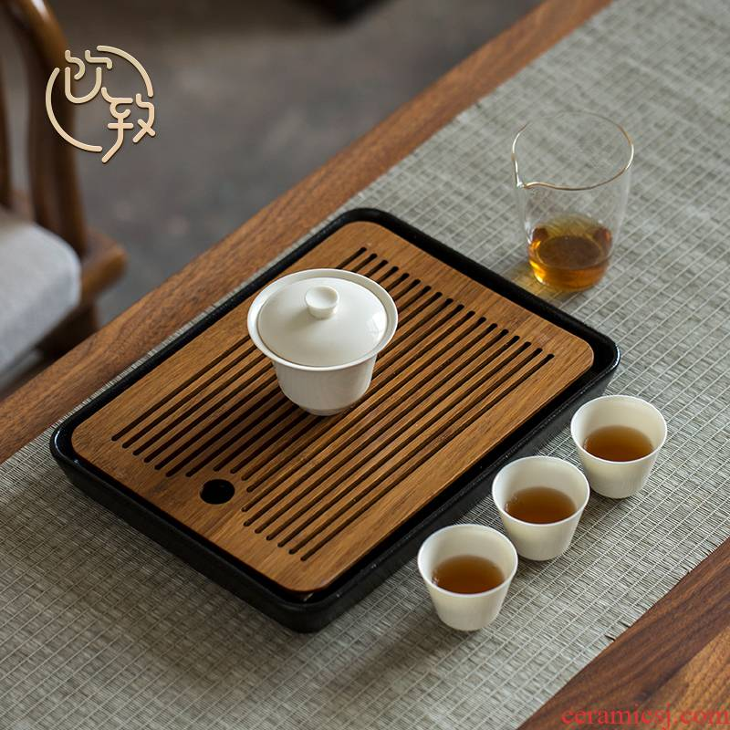 Ultimately responds to tea tray of black ceramic dry plate of household water storage type small tea table is contracted kung fu tea tea tray