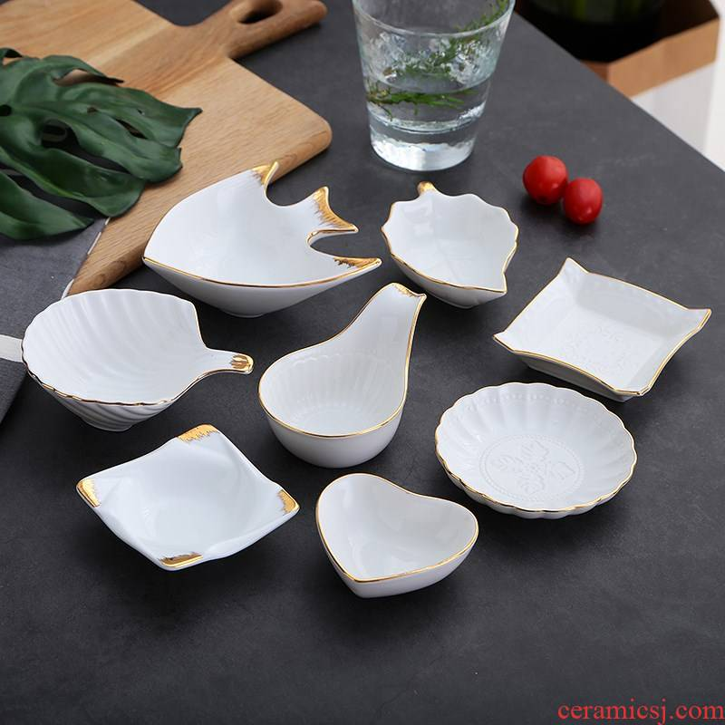 Scene ruyi dish dish ceramic home three European dip disc plate sauce pick food dish of cold dish little sauce dish