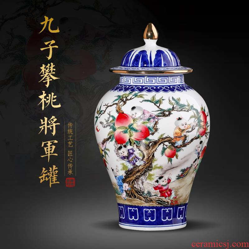 Jingdezhen blue and white color bucket ceramics vase the general pot of furnishing articles antique Chinese style porch rich ancient frame sitting room adornment