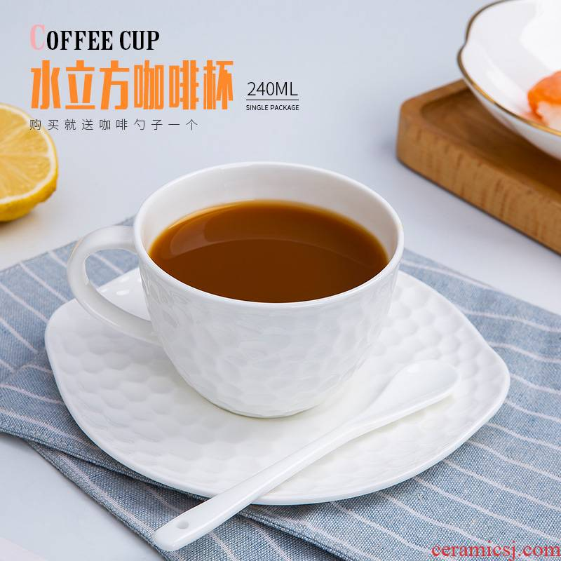 Jingdezhen porcelain white European contracted ipads porcelain coffee cup set key-2 luxury home ins American - style coffee cups and saucers