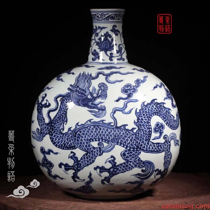 Jingdezhen blue and white sea dragon jintong hand - made long neck flat bottles of Jingdezhen blue and white dragon long - necked vase
