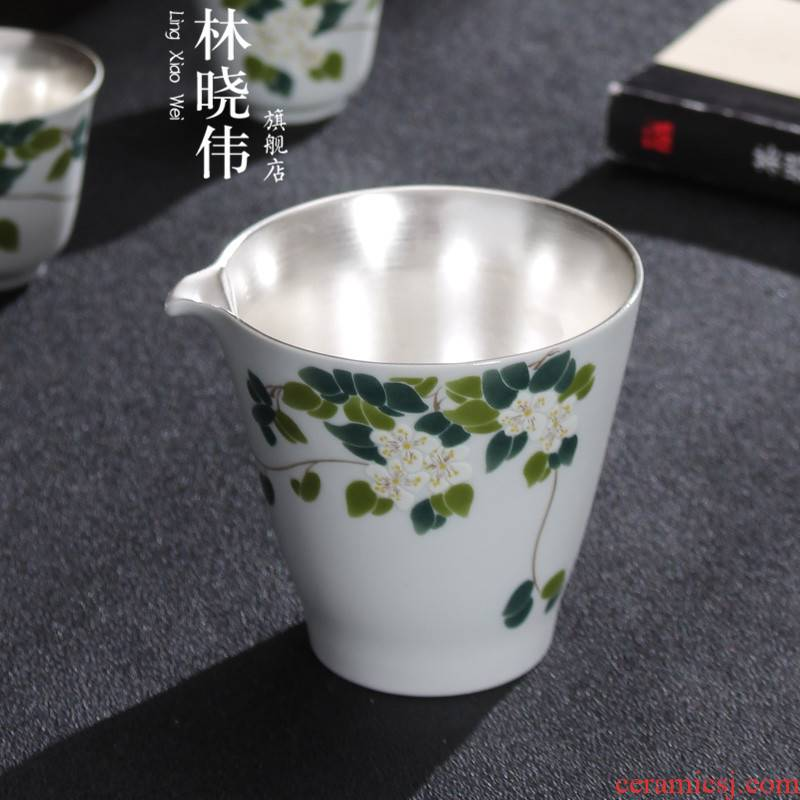 European - style hand - made ceramic fair coppering. As silver cup tea tea is pure silver sea points kung fu tea set suit household contracted by hand