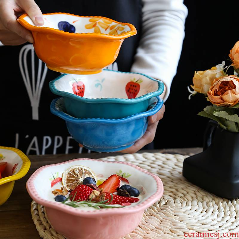 Northern wind ins hand - made lace ceramic bowl bowl noodles in soup bowl of microwave oven with lovely fruit salad bowl