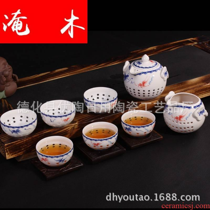 Submerged wood upscale glair blue crystal and exquisite hollow out m ceramic lid bowl with gifts of a complete set of kung fu