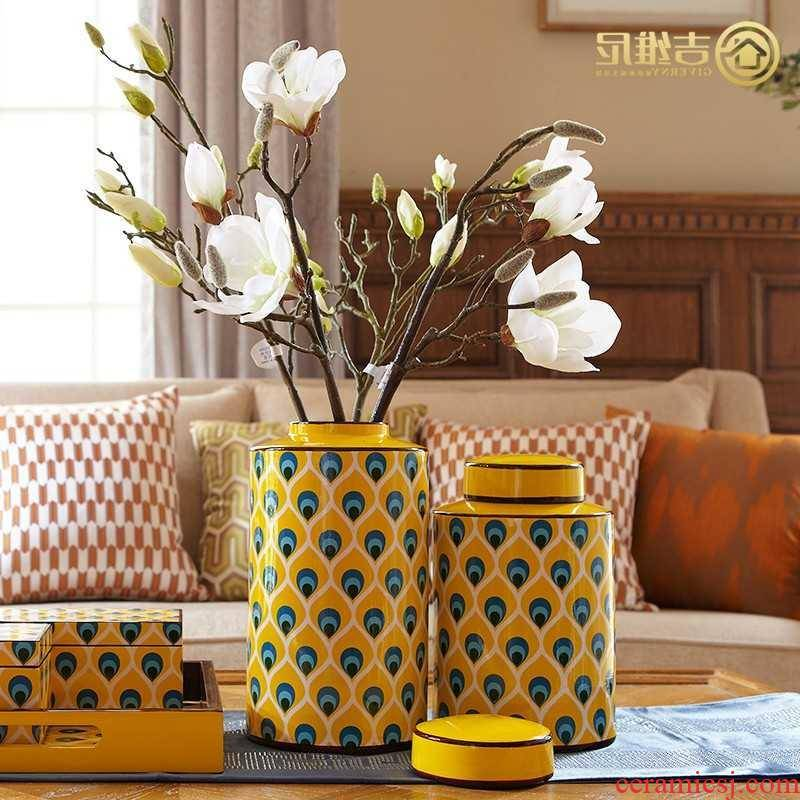 Japan buy KY new Chinese American household adornment vases, flower arranging furnishing articles European sitting room between example peacock wen tao
