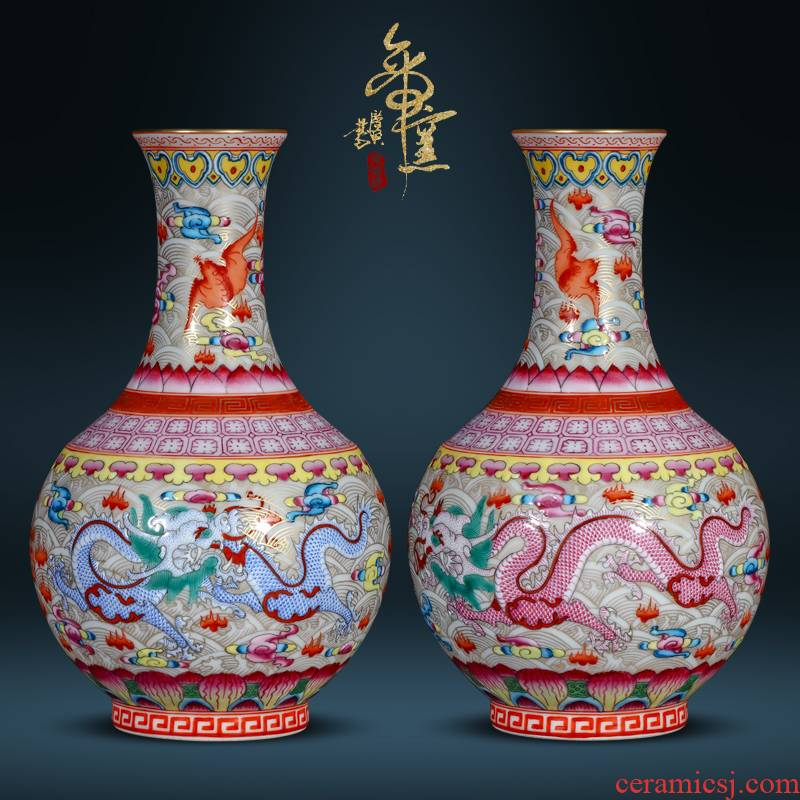 Jingdezhen ceramics see colour seawater bats grain the qing qianlong vase Chinese style porch sitting room TV cabinet decorative furnishing articles