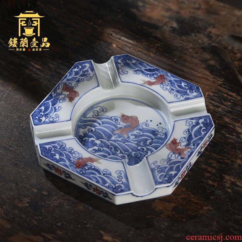 Jingdezhen ceramic all hand - made under glaze blue and white youligong Chinese ashtray home furnishing articles office decoration