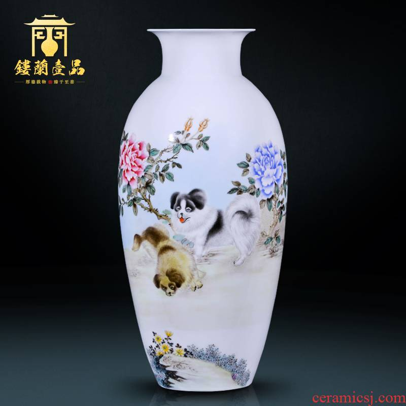 The Master of jingdezhen ceramic completely hand made pink dog its large decorative vase flower arrangement of Chinese style household furnishing articles