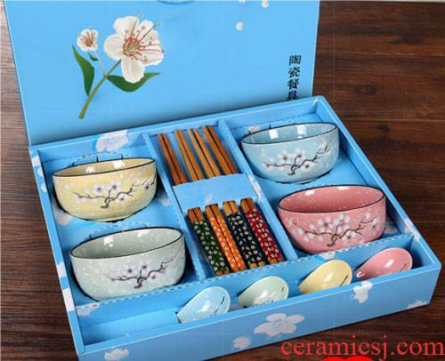 Eating four pieces of four suits for bowl bowl three household chopsticks in a ceramic family 4 teaspoons of lovely combination
