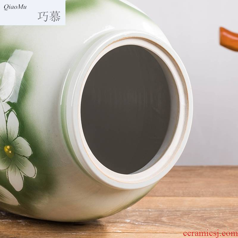 Qiao mu jingdezhen ceramic barrel ricer 50 jins home with box cover moistureproof insect - resistant sealed tank flour box vintage store