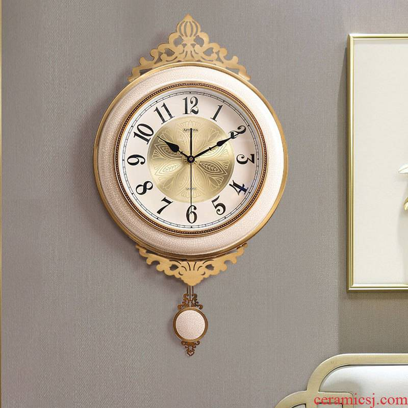 Lulu ceramic light swaying fashionable sitting room decoration key-2 luxury wall clock clock creative move supe home European atmosphere