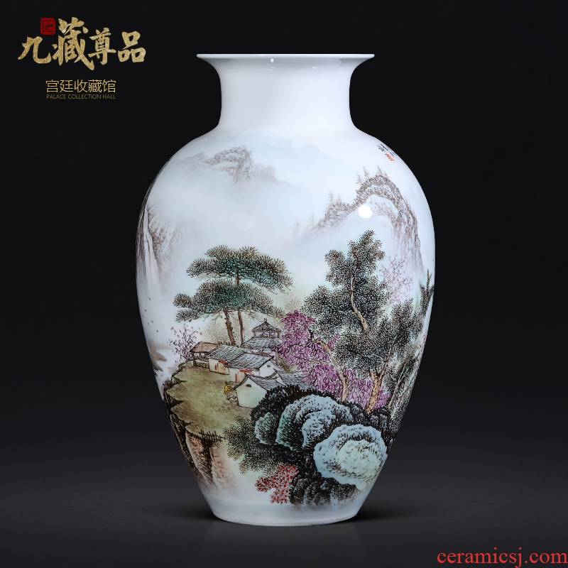 Dong - Ming li hand - made pastel landscape vase of jingdezhen ceramics Chinese style living room TV cabinet porch is decorated furnishing articles