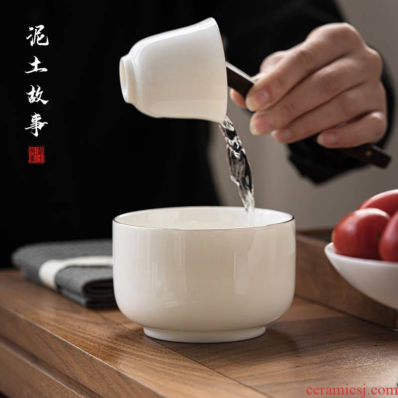 Dehua suet jade porcelain built water bowls zen tea pot type water meng tea wash water XiCha wash large wash to ceramic cup