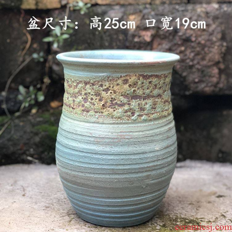Manual coarse pottery flowerpot more meat large basin mage, zhuang zi retro POTS outside sitting room dry flower decoration flower pot