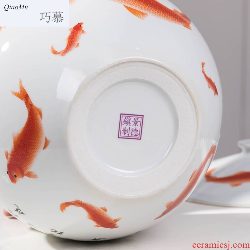 Qiao mu ceramics ricer box barrel moistureproof insect - resistant seal 10 jins 20 jins home with cover tank pickle grain storage