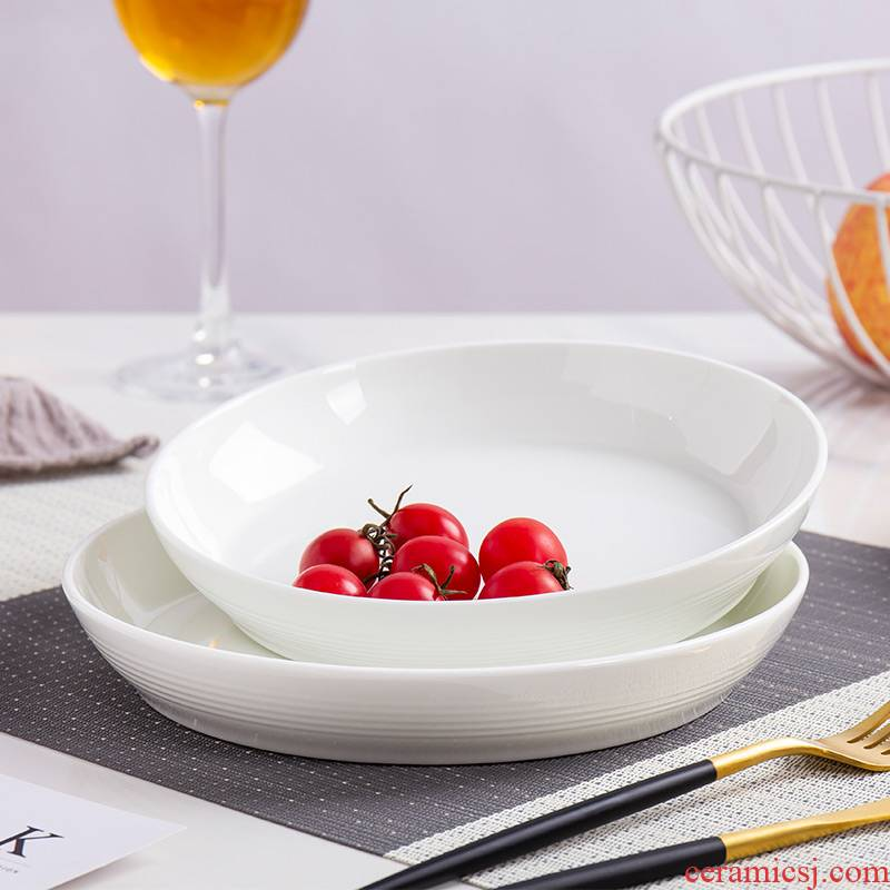 Jingdezhen household contracted white ipads China plate round ceramic deep LIDS, install new dishes available microwave oven