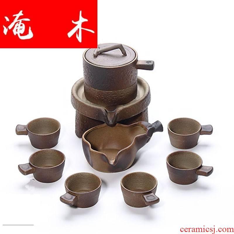 Submerged wood mill archaize automatic tea set lazy kung fu tea an artifact household ceramic teapot teacup