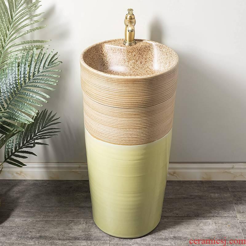 Ceramic column basin restoring ancient ways of household toilet lavatory basin sink balcony is suing floor one column 3