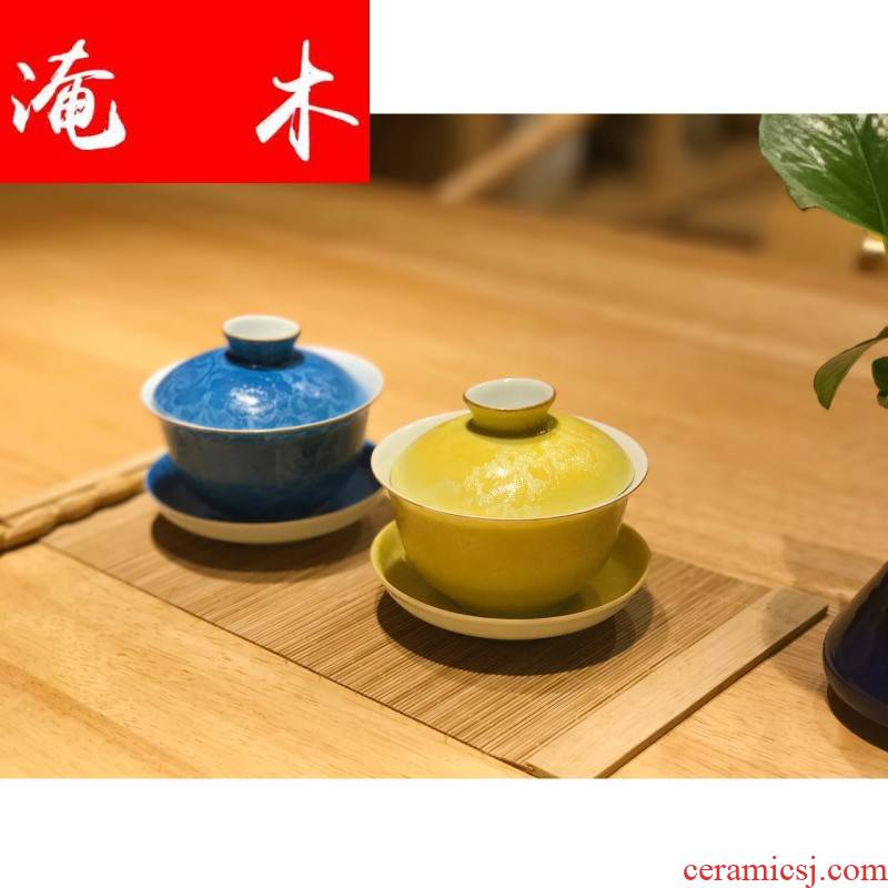 Grilled flooded wood powder enamel spend three to tureen kung fu tea jingdezhen pure manual large blue and white porcelain cups