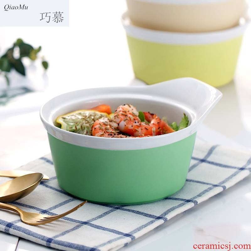 Nordic Qiao mu DHT ceramic household lovely move eat noodles salad a large bowl of soup bowl package mail fruit desserts
