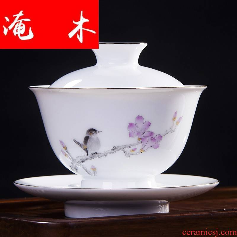 Flooded wooden bird all hand made enamel orchid only three high tureen jingdezhen ceramics craft kung fu tea tea cup