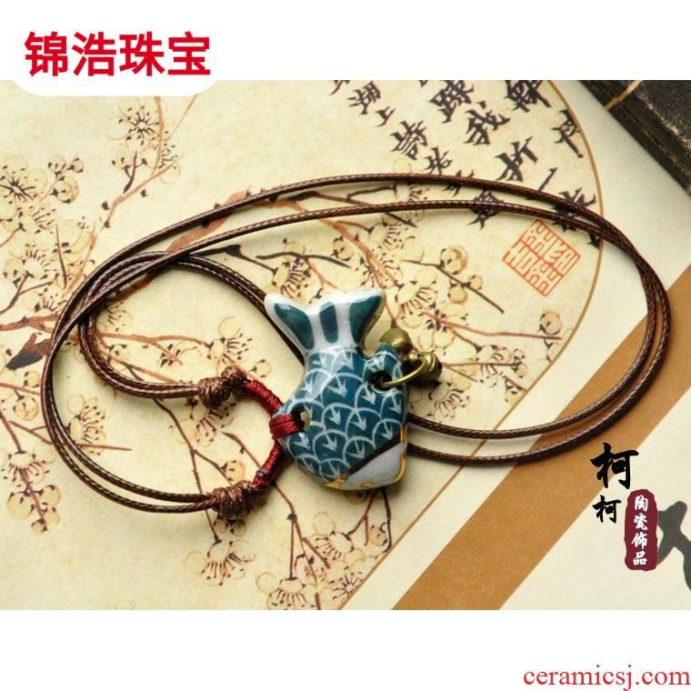 Hand - drawn the original retro fish jingdezhen ceramic lady 's national wind bells necklace