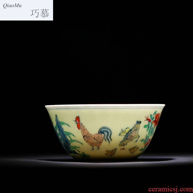 Qiao mu seiko edition 280 da Ming chenghua chicken color bucket cylinder cup jingdezhen hand - made manual archaize ceramic cups