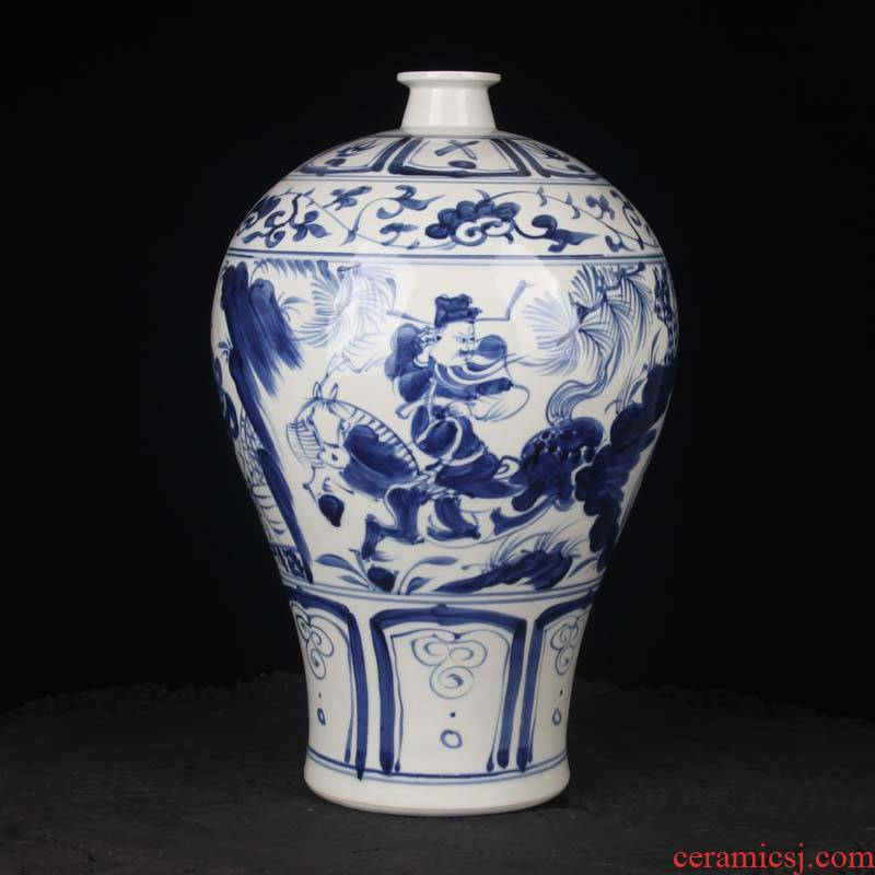 Under the jingdezhen up hand - made of hand - made imitation people Xiao Heyue Han Xinmei bottle may copy yuan blue and white porcelain bottle