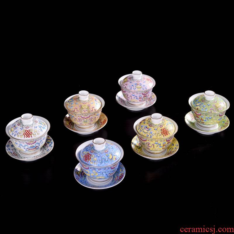 Hui shi tureen kung fu tea set of blue and white porcelain ceramic colored enamel three bowl of tureen tea cups, grilled flower tea cups
