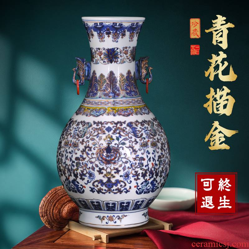 Blue and white porcelain jingdezhen ceramics vase Chinese archaize sitting room home TV ark adornment study furnishing articles