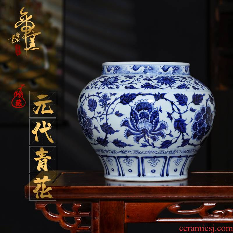 Blue and white peony flower grain emperor up collection good matter - element pitcher of archaize porcelain authentic jingdezhen ceramic vases, furnishing articles