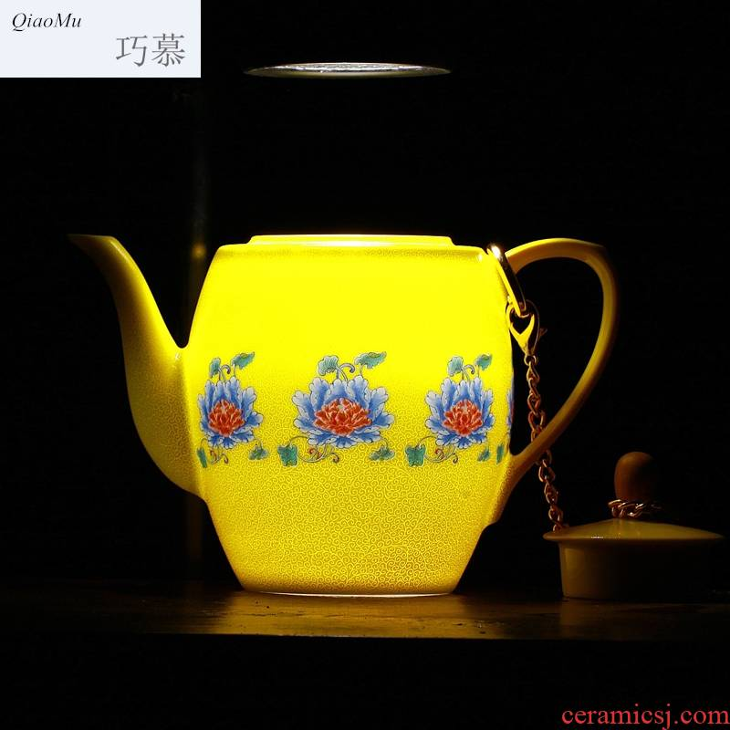 Qiao mu jingdezhen archaize ceramic tea set manually pick flowers gift cups pastel way hand - made kung fu tea products