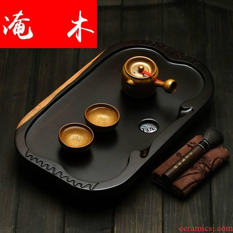 Flooded kung fu tea tray ebony wood tea tray tea set tea table of a complete set of coarse pottery teapot the whole piece of solid wood tea tray