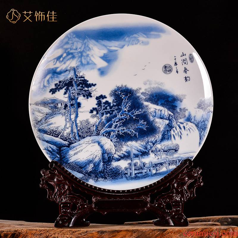 Blue and white landscape of jingdezhen ceramics decoration plate porch sitting room office business gifts handicraft furnishing articles