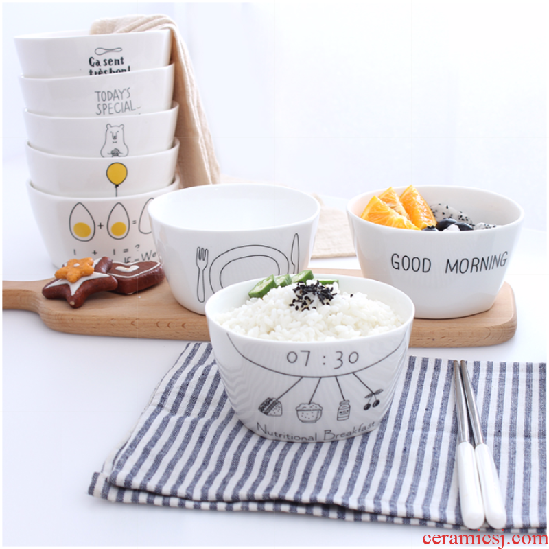 The Little girl small party atmosphere Korean student canteen container 2019 fine ceramic bowl to ultimately responds wine steaming bowl over a cup of tea