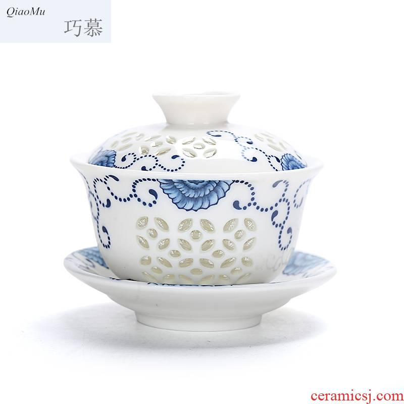 Qiao mu purple ceramic kung fu tea set your up tureen only three cups of green ice to crack the three bowl of blue and white and exquisite bowl with a new one