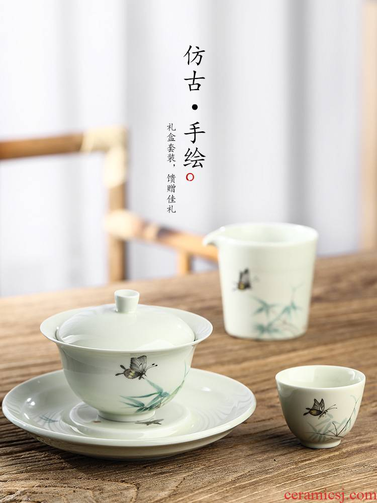 Jingdezhen hand - made painting of flowers and tea sets checking ceramic masters cup sample tea cup Chinese gift box from the female