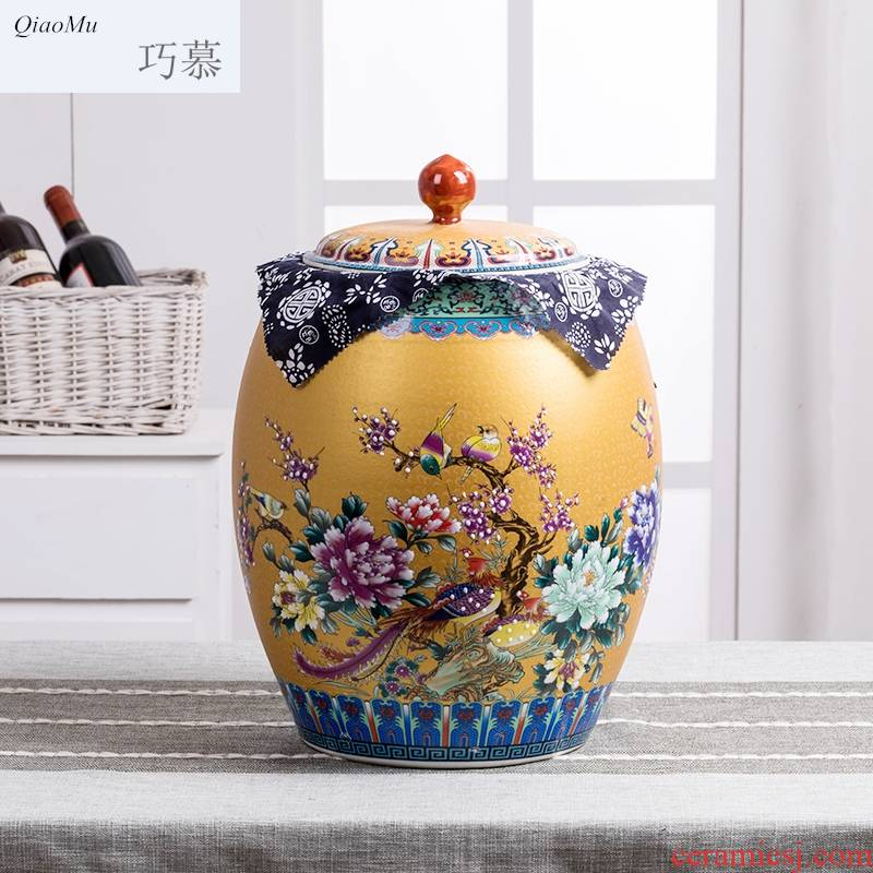 15 kg30 jin qiao mu jingdezhen ceramic barrel with cover moistureproof insect - resistant receive a pot ricer box cylinder kitchen receive