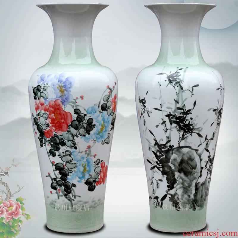 Jingdezhen ceramics hand - made color grape bamboo home sitting room 1 meter landing big vase decoration furnishing articles